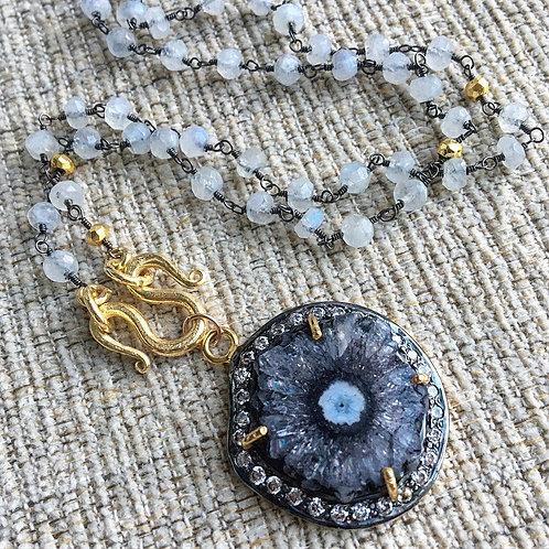 Moonstone & Black Solar Quartz Signature Necklace
