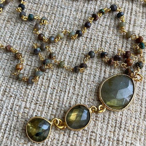 Triple Labradorite & Chrysacolla Necklace
