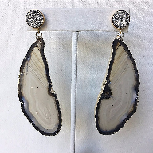 Silver & Black Druzy Agate Slice Earrings