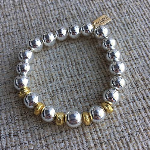 Silver Hematite Gold Accent Bracelet