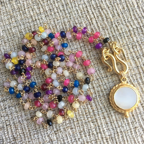 Multi Gems & Pearl (Round) Signature Wrap Necklace