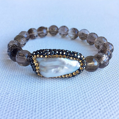 Faceted Smokey Quartz & Freshwater Pearl Bracelet