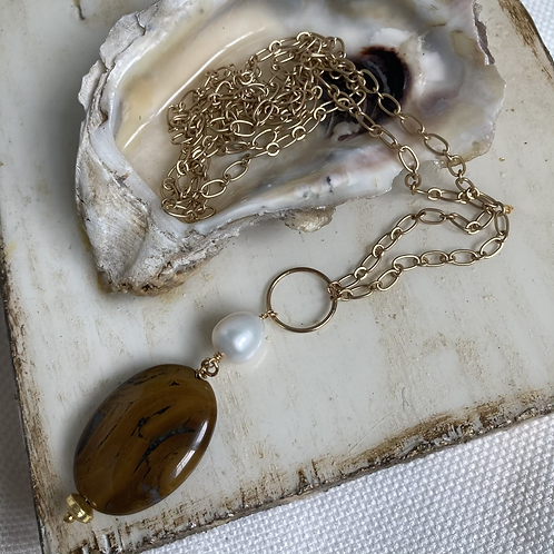 Agate & Pearl Necklace