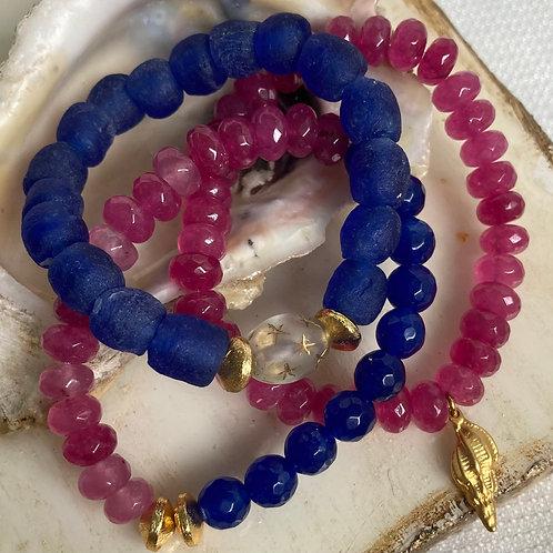 Sea Glass & Pink Jade Stack