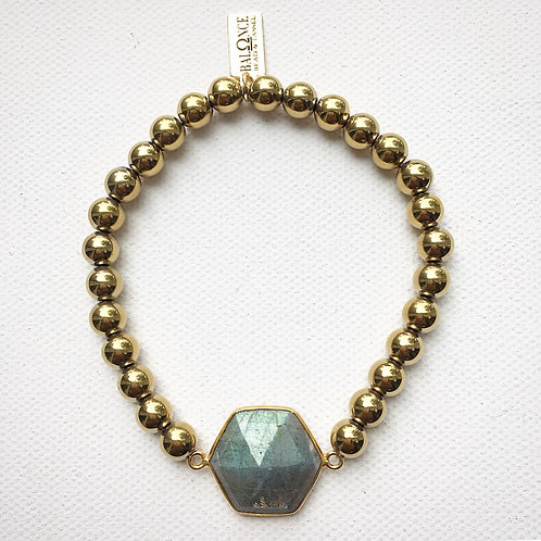 Golden Hematite and Hexagon Labradorite Bracelet