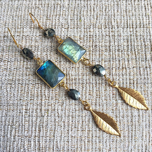 Labradorite Vine Earrings