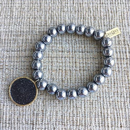 Gunmetal Hematite Coin Bracelet