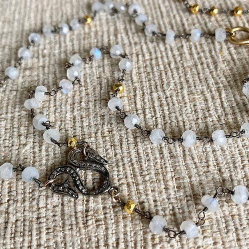Diamond & Moonstone Lariat Necklace