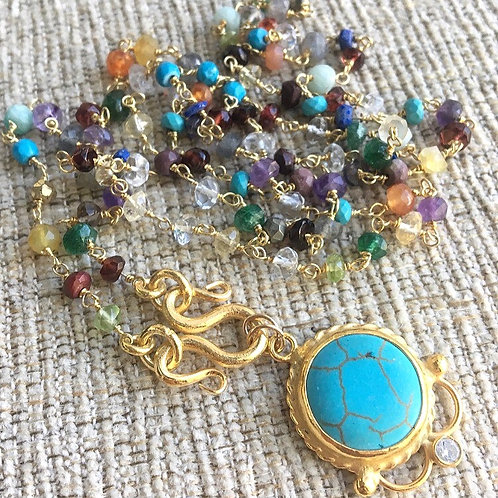 Multi Gems & Turquoise Signature Wrap Necklace