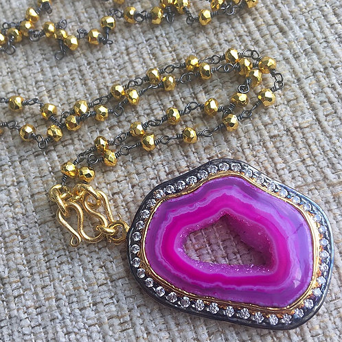 Golden Pyrite & Pink Agate Signature Necklace