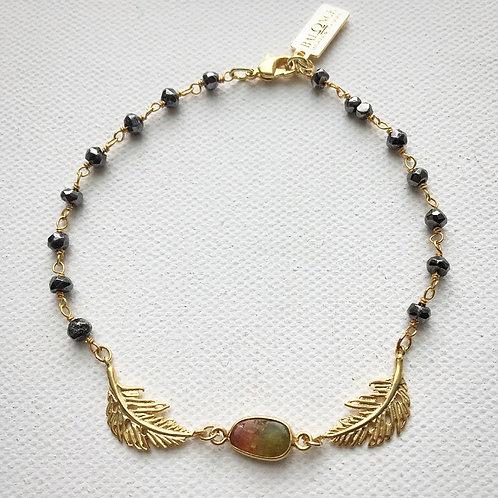 Dainty Pyrite & Watermelon Tourmaline Bracelet