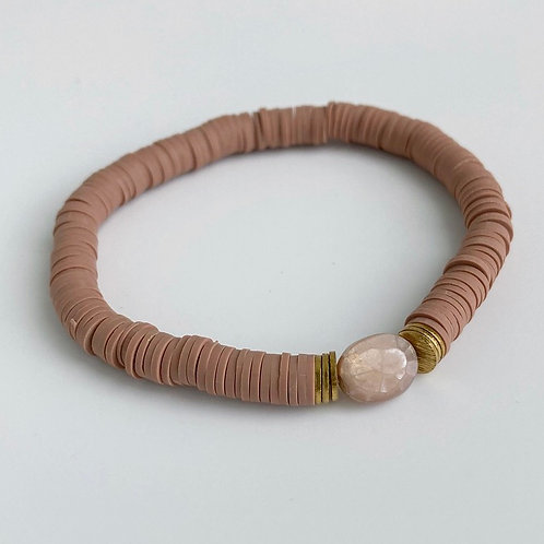 Rose Vinyl Moonstone Bracelet