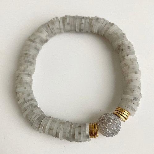 Speckled Gray Vinyl Bracelet