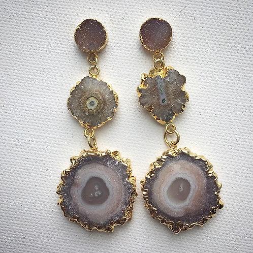Beige Druzy Quartz, Solar Quartz Earrings with Amethyst Stalactites
