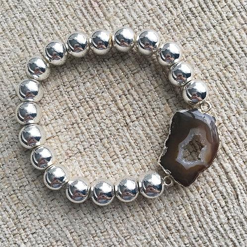 Silver Hematite & Agate Slice Bracelet II