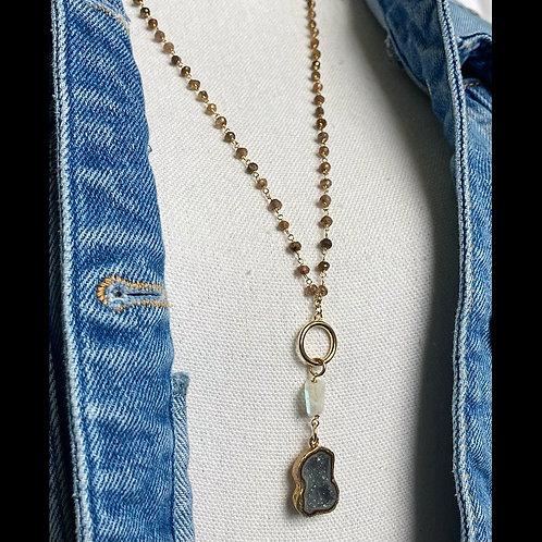 Moonstone & Druzy Necklace