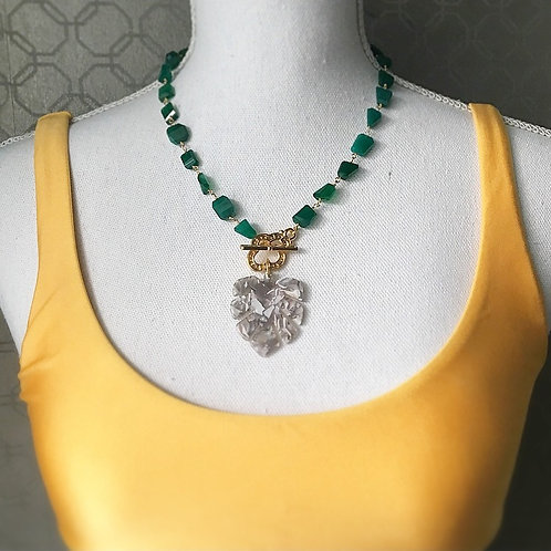 Green Onyx Tropical Statement Necklace