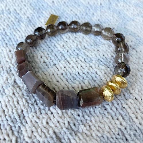 Chocolate Moonstone & Smokey Quartz Bracelet