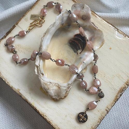 Diamond & Mystic Moonstone Cross Necklace