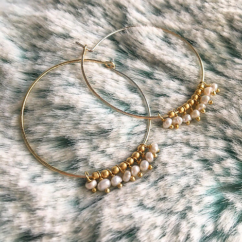 Tiny Pearl Hoop Earrings