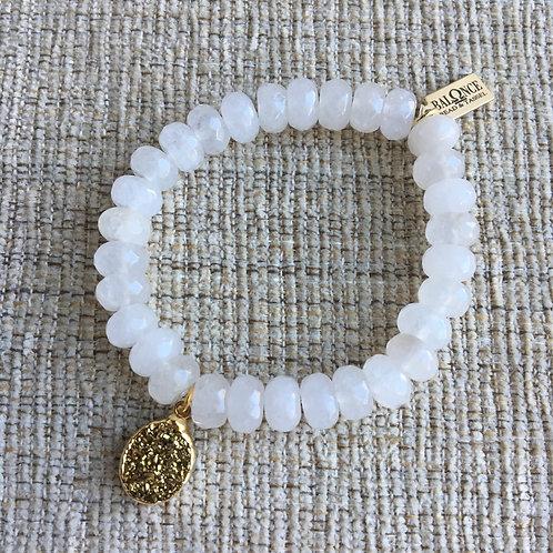 White Jade & Gold Druzy Bracelet