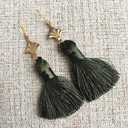 Forest Green Nola Tassel Earrings
