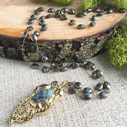 Raw Emerald & Pyrite Artisan Necklace