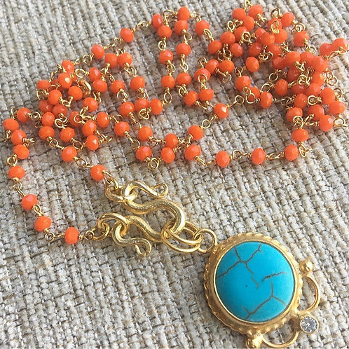 Coral & Turquoise Signature Wrap Necklace Necklace