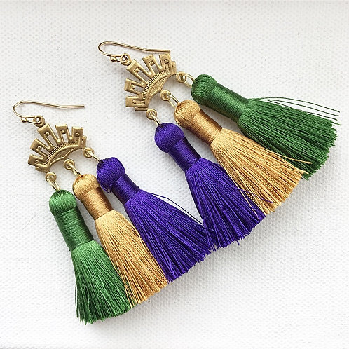 Mardi Gras Triple Crown Earrings