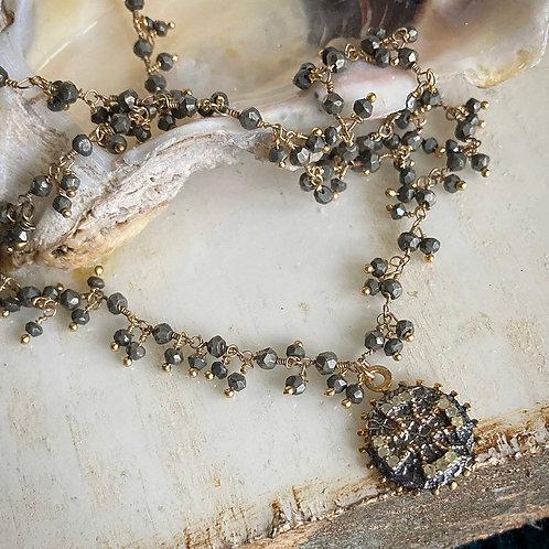 Diamond Cross & Pyrite Dangle Necklace