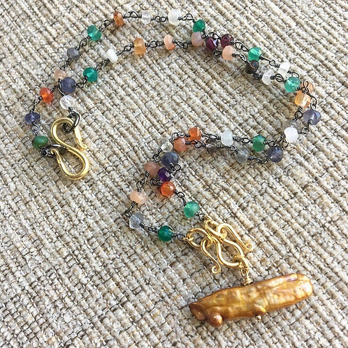 Multi Gems & Keshi Pearl Signature Necklace