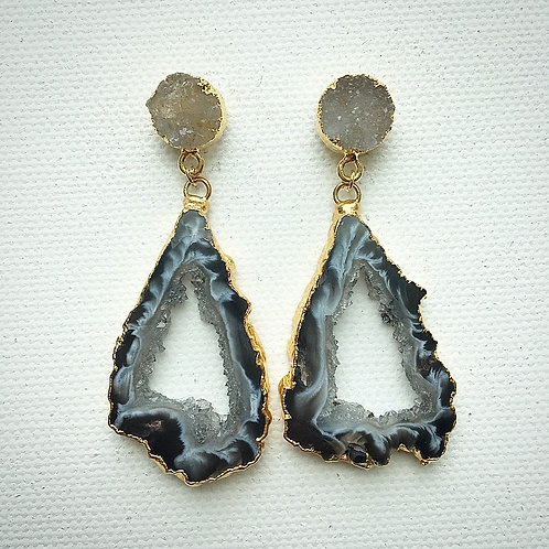Light Druzy & Agate Slice Earrings