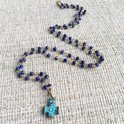Lapis Lazuli & Copper Patina Cross Necklace