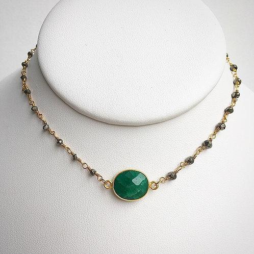 Vintage Pyrite & Emerald Choker