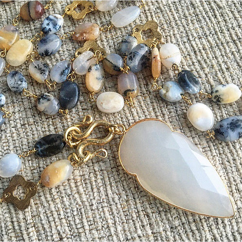 Dendrite Opal & White Chalcedony Signature Necklace