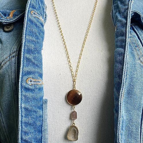 Quartz Triple Stone Necklace