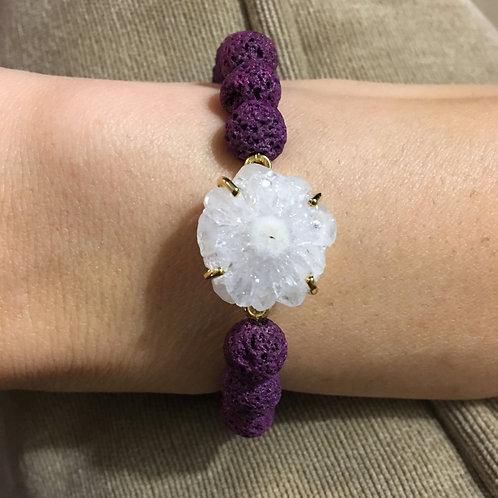Purple Lava Stone & Solar Quartz Bracelet