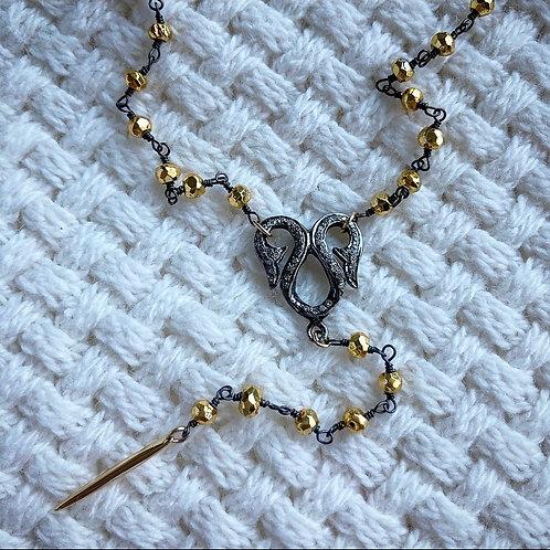 Diamond & Pyrite Lariat Necklace
