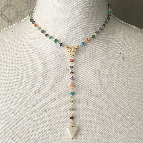 Multi-Gems & Pearl Signature Lariat Necklace