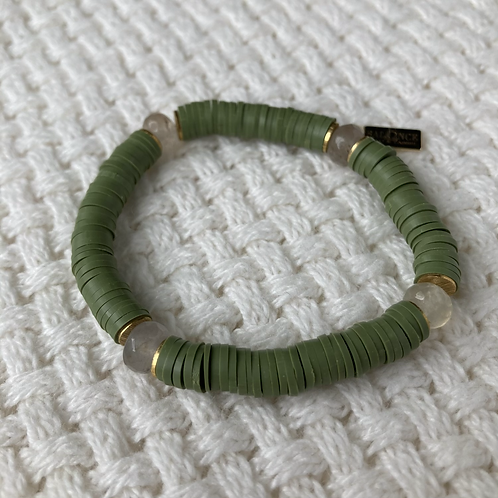 Olive Vinyl & Agate Bracelet