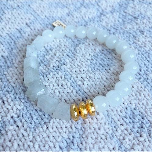 Mixed Rainbow Moonstone & Agate Bracelet