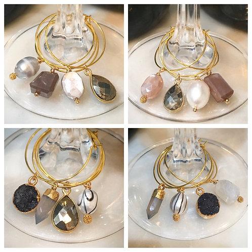 Genuine Pearl & Gemstone Wine Charms