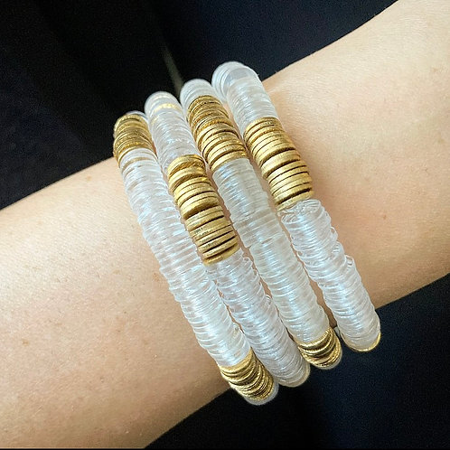 Clear & Gold Heishi Bracelet
