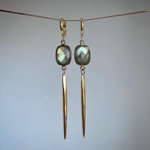 Labradorite Spike Earrings