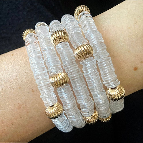 Clear & Gold Filled Accent Bracelet