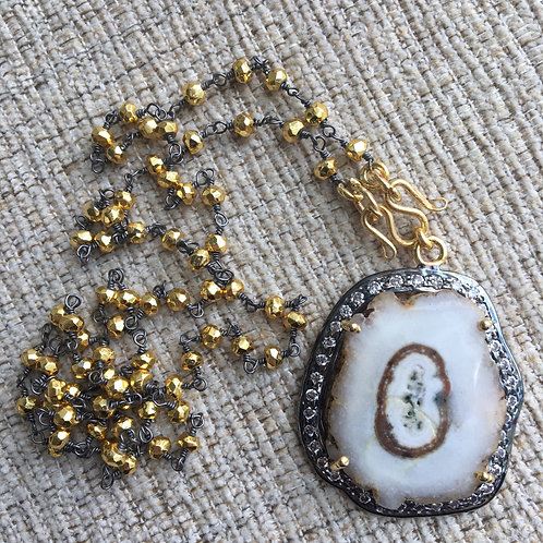 Golden Pyrite & Solar Quartz Signature Necklace