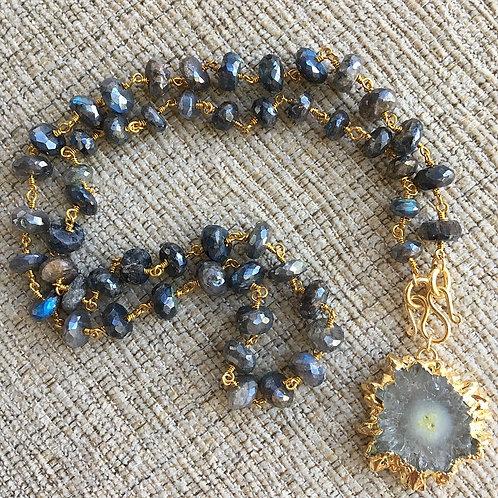 Signature Necklace in Mystic Labradorite & Amethyst