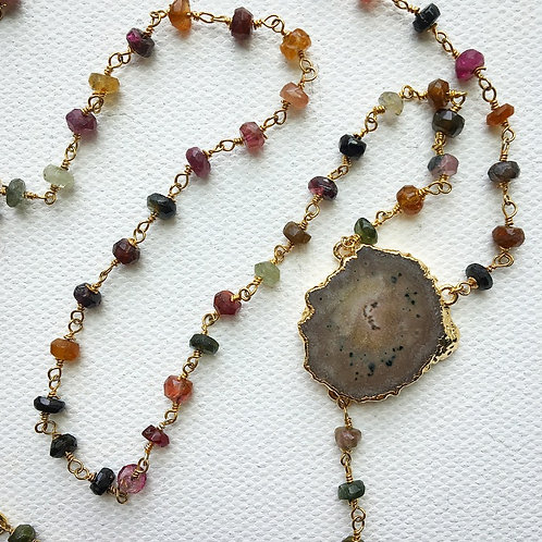 Multi Color Tourmaline & Amethyst Stalactite Lariat Necklace