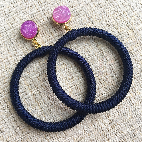 Navy & Hot Pink Hoops