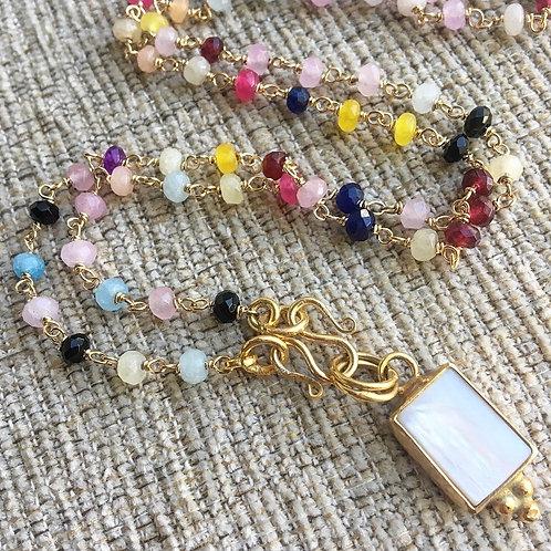Multi Gems & Pearl (Rectangle) Signature Wrap Necklace